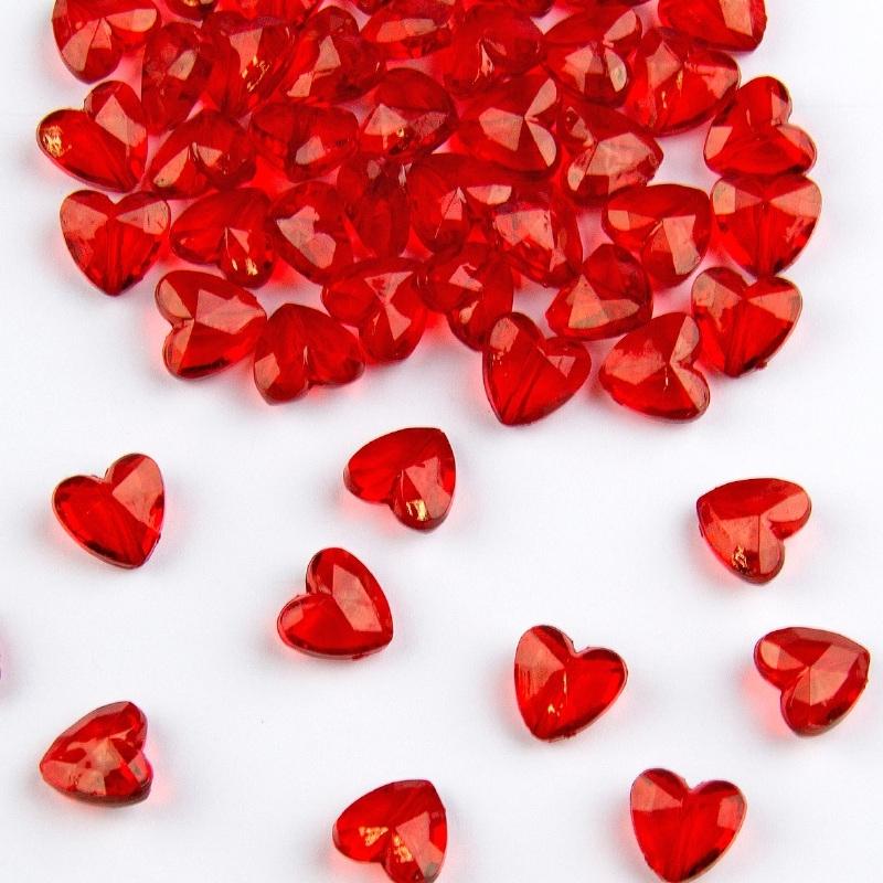 Decoratie hart diamantjes 12 mm