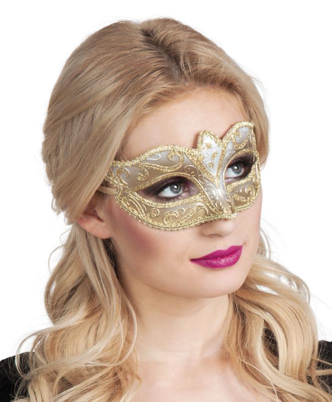 Oogmasker Venice felina goud