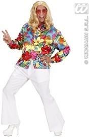 Hippie heren blouse met bloemen