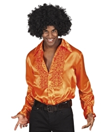 Disco blouse oranje met roezels