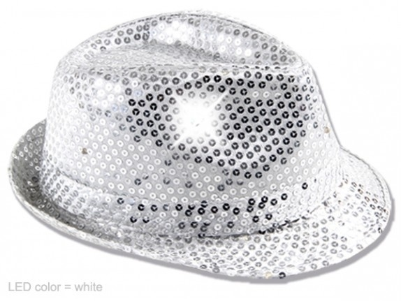 Wit / zilver hoedje met Led verlichting