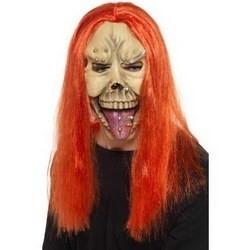 Zombie punk masker met neon haar