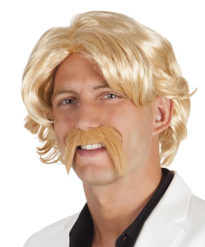 Blonde pruik met snor Chuck