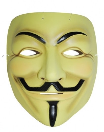 Masker V for Vendetta geel