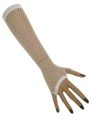Net handschoenen vingerloos wit