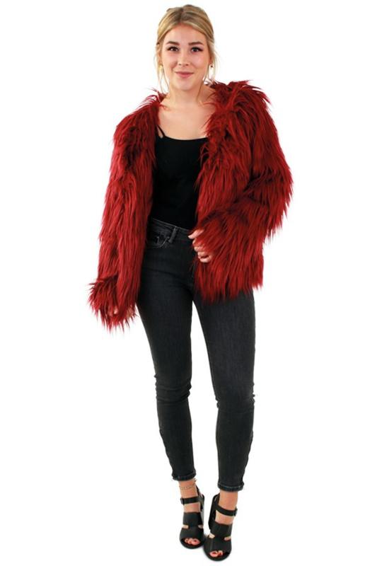 Bontjas lang haar bordeaux rood