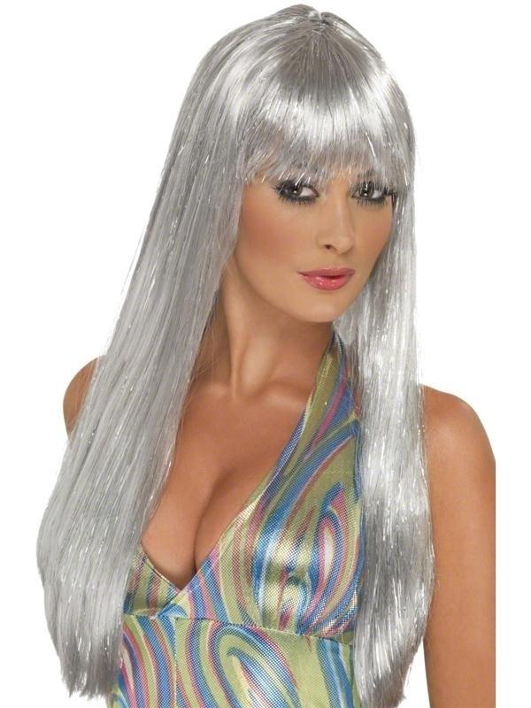 Glitter zilver pruik lang