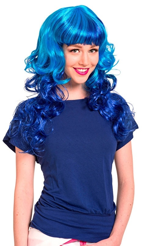 Pruik stylish krullend blauw