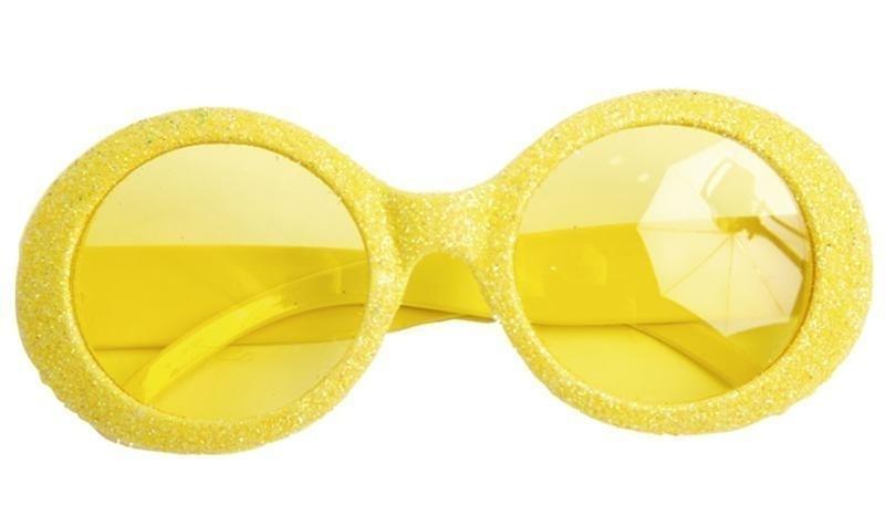 Gele neonbril met glitter