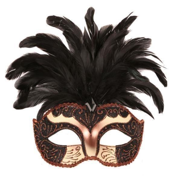 Venetiaans masker pluim zwart