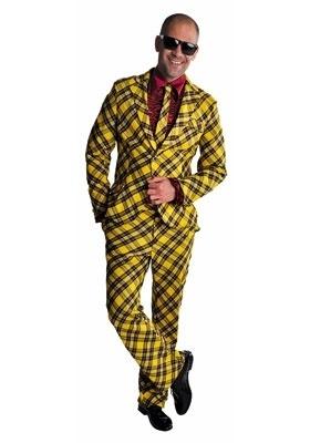 Kostuum geel zwart geruit