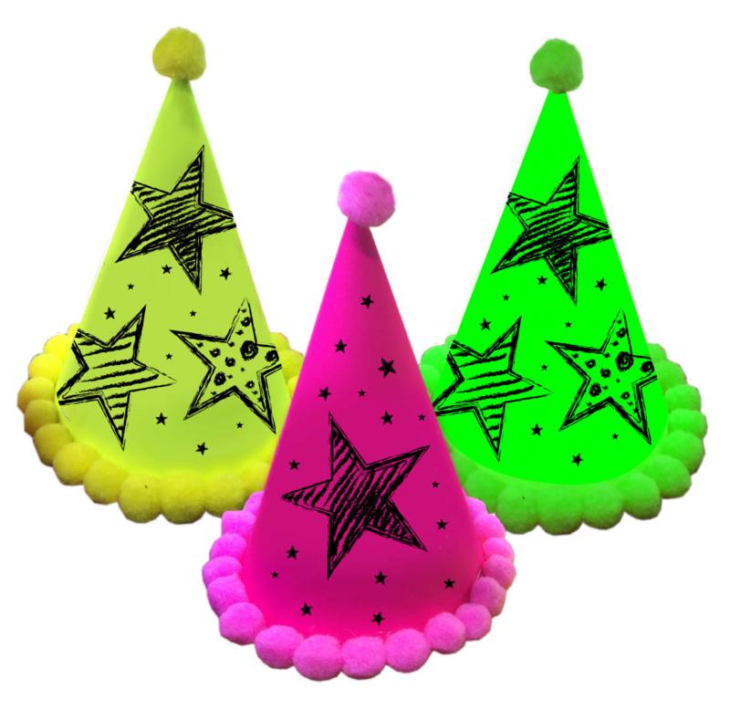 Verjaardagshoedjes met neon