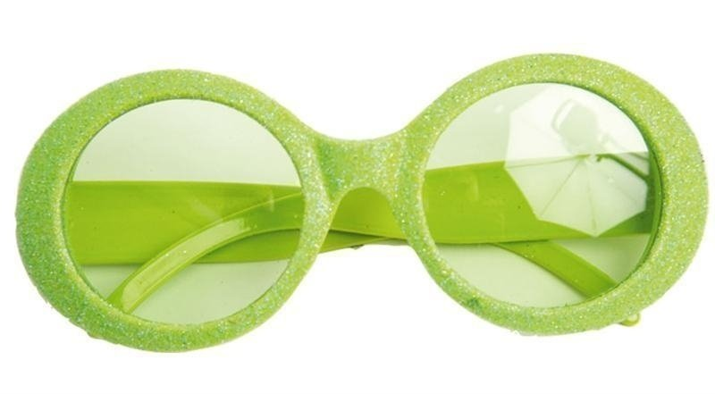 Groene neon bril met glitters