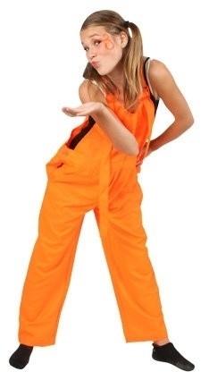 Fluor oranje tuinbroek kids
