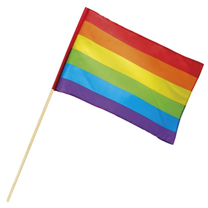Stoffen regenboog zwaaivlag