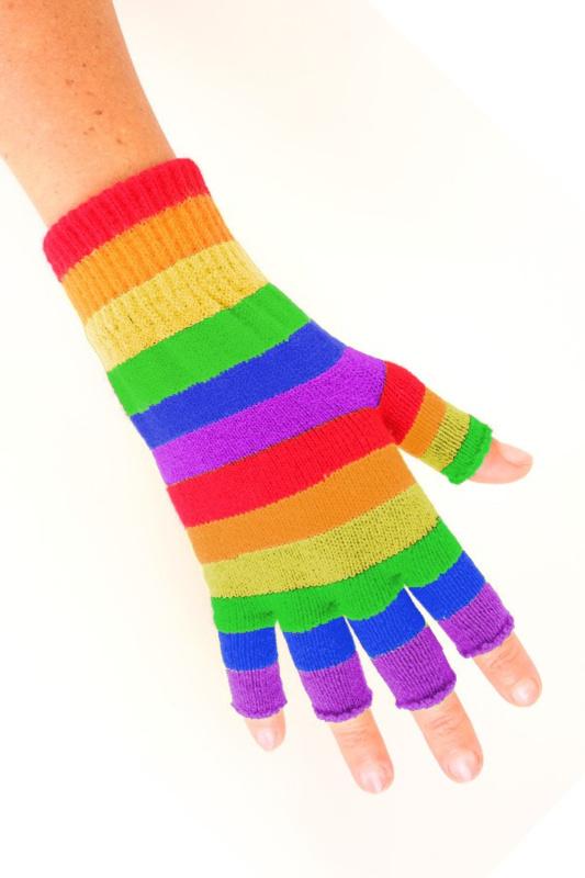 Vingerloze handschoen regenboog