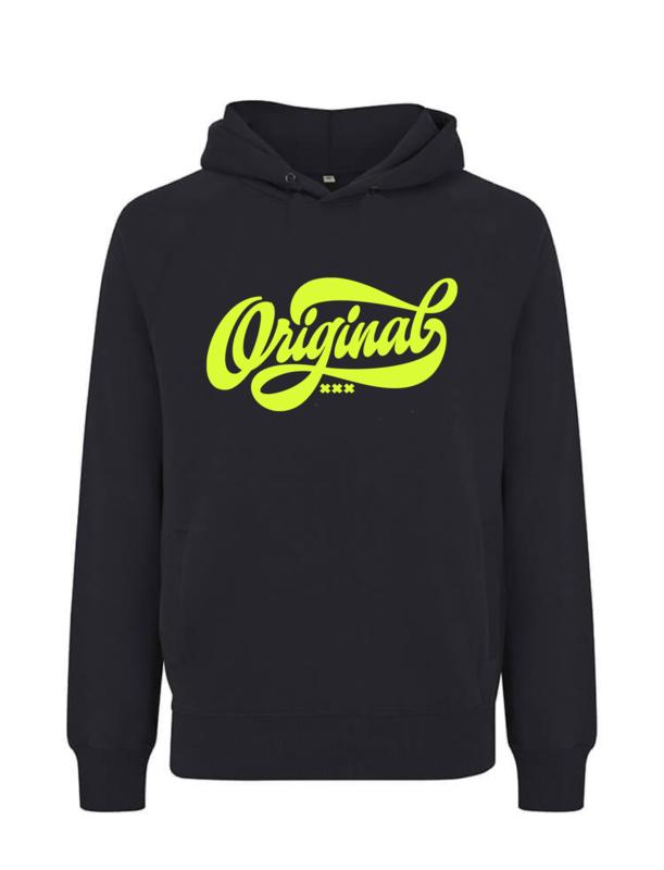 Amsterdam original puffed hoodie, zwart neon geel