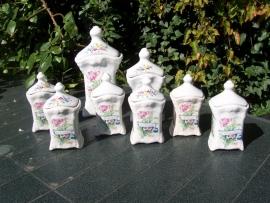 Keuken Voorraad potten set met grote bloemboeketten