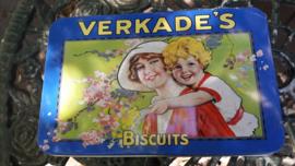 """Nostalgisch Verkade blik """"de meisjes van Verkade"""" blauw/geel-groen"""