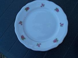 Ontbijt/Gebak/Dessertbordje Marie Luise met roze/rode roosjes alleen op de rand