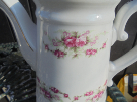 ZELDZAAM!! Hoge THEEpot P. Regout met dubbele roze roosjes