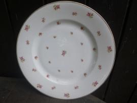 Grote ronde serveerschaal Victoria met roze roosjes