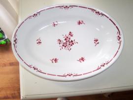 Franse Ovale Vleesschaal met rode bloemetjes en rand