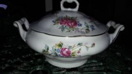 Jarolina Dekschaal met roze roos / bloemboeket