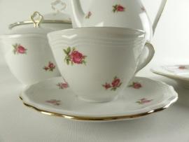 (Recht model/Koffie)Kop en schotel Seltmann Weiden Marie Luise met roze/rode roosjes