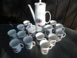 Modern MOSA Koffieservies met grijs/rode rozen