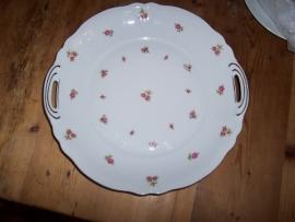 Gebakschaal Mitterteich Bavaria met roze/rode roosjes