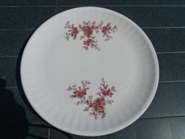 Grote ronde serveerschaal met rose/rode bloemetjes