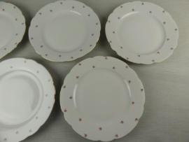 Ontbijt/Gebak/Dessertbordjes Bavaria NORA met tere mini roze roosjes