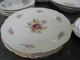 Ontbijtbordje Wawel met bloemboeket: roze roos/paars bloemetje