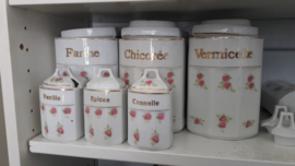 Voorraad / Kruiden potten set inc. Olie en Azijn kannetje met roze roosjes