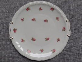 Taart/Gebakschaal Rheinkrone Bavaria met roze/rode roosjes