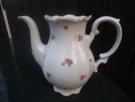 Koffiepot zonder deksel met roze/rode roosjes 2 tulpjes gemerkt
