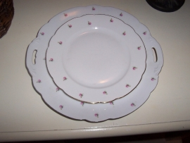 Ontbijtbordje Bavaria INKA met tere mini roze roosjes