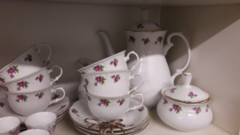 Koffieservies Thun met rode/roze roosjes