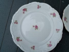 Ontbijt/Gebak/Dessertbordje Bavaria (2 tulpjes gemerkt) met roze roosjes