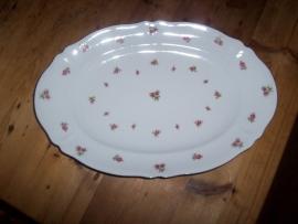 Mitterteich Bavaria Ovale vleesschaal met roze/rode roosjes