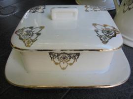 Nimy (Belgisch) Aardewerk, Botervloot met gouddecoratie / guirlande