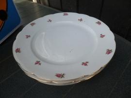 Ontbijt/Gebak/Dessertbordjes Seltmann Weiden NORA met grotere rose/rode roosjes