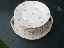 Ontbijt/Gebak/Dessertbordje Johann Seltmann Vohenstrauss Elly met zacht roze enkele roosjes