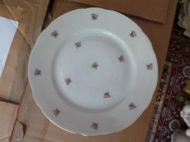 Ontbijt/Gebak/Dessertbordje Magvam Elly met roze enkele roosjes