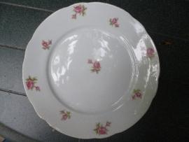 Ontbijt-/Gebak- of Dessert bordje Bareuther Bavaria met roze/rode roosjes