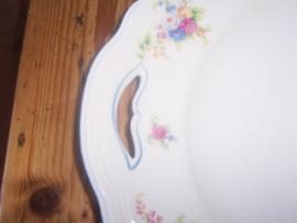 Gebakschaal Seltmann Weiden Marie Luise met bloemboeketjes / roze roosjes en blauw randje