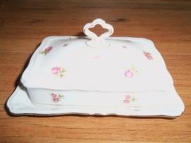 ZELDZAAM!! Rechthoekige botervloot Seltmann Weiden Marie Luise met roze/rode roosjes