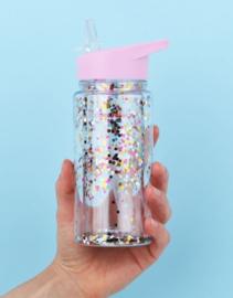 Kleine Drinkfles met rietje Multicolor Glitter