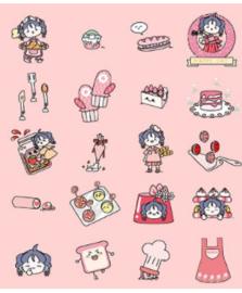 Stickerzakje Stickerflakes Strawberry Jelly Pink